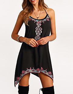 Χαμηλού Κόστους Επιλογές Συντακτών-Γυναικεία Φαρδιά Swing Φόρεμα Στάμπα Ασύμμετρο Τιράντες Μαύρο