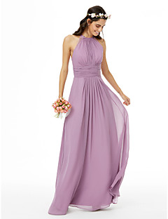 cheap Purple Passion-Sheath / Column Jewel Neck Floor Length Chiffon Bridesmaid Dress with Lace Sash / Ribbon Pleats Ruched by LAN TING BRIDE®