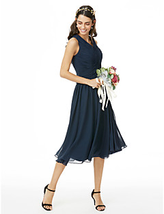 cheap Imperial Blue-A-Line V Neck Tea Length Chiffon Bridesmaid Dress with Pleats Ruched Criss Cross by LAN TING BRIDE®