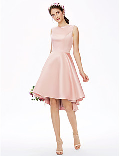 cheap Romance Blush-Princess One Shoulder Asymmetrical Satin Bridesmaid Dress with Smooth by LAN TING BRIDE®