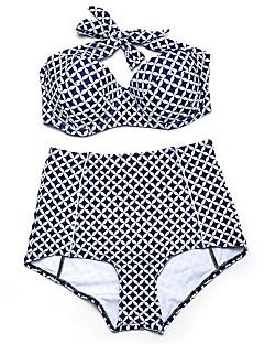 billige Bikinier og damemote 2017-Dame Store størrelser Grime Bandeau Bikini - Trykt mønster, Høy Midje Rutet