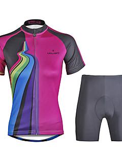 billige Sett med sykkeltrøyer og shorts/bukser-ILPALADINO Dame Kortermet Sykkeljersey med shorts - Svart Sykkel Klessett, 3D Pute, Fort Tørring, Ultraviolet Motstandsdyktig, Refleksbånd