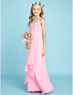 Sheath / Column Spaghetti Straps Floor Length Chiffon Junior Bridesmaid Dress with Ruching by LAN TING BRIDE®