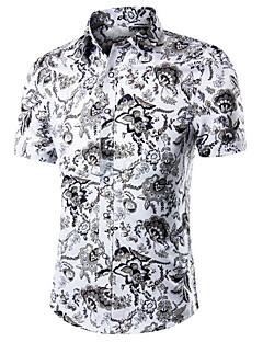 お買い得  メンズシャツ-男性用 ワーク - プリント プラスサイズ シャツ コットン / 半袖