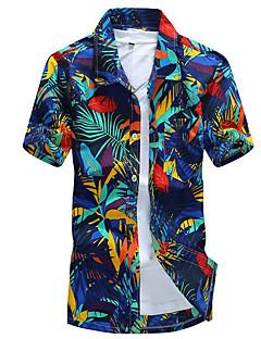 billige Herremote og klær-Tynn Klassisk krage Skjorte Trykt mønster Bohem Helg Strand Herre