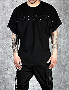 Herren Solide Einfach Street Schick Lässig/Alltäglich T-shirt,Rundhalsausschnitt Sommer Kurzarm Baumwolle Undurchsichtig