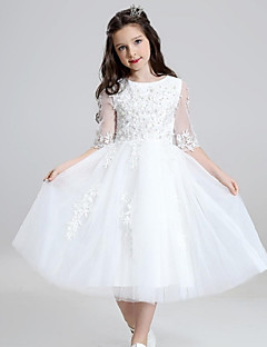 cheap Communion Dresses-Ball Gown Tea Length Flower Girl Dress - Organza with Ruffles by YDN