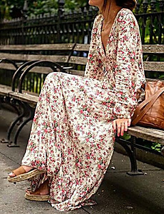 Women's Daily Vintage Boho Swing Dress,Floral V Neck Maxi Long Sleeve Silk Summer High Rise Micro-elastic Medium