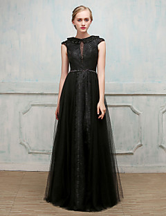 cheap Wedding Guest Dresses-Ball Gown Jewel Neck Floor Length Lace Satin Tulle Formal Evening Dress with Beading Lace Sash / Ribbon Pleats by SG
