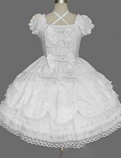 billiga Lolitaklänningar-Prinsessa Söt Lolita Punk Dam Flickor Klänningar Cosplay Vit Balklänning Holk Kortärmad Kort / mini Plusstorlekar Anpassad Kostymer