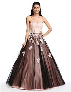 저렴한 특별한 이벤트 드레스-볼 드레스 스윗하트 바닥 길이 새틴 튤 댄스 파티 / 포멀 이브닝 드레스 와 비즈 아플리케 으로 TS Couture®