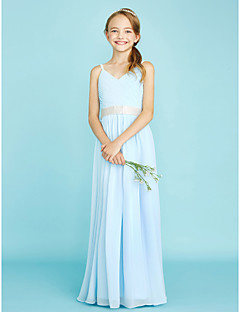Sheath / Column Spaghetti Straps Floor Length Chiffon Junior Bridesmaid Dress with Pleats by LAN TING BRIDE®