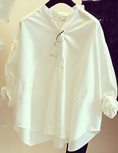 billige Skjorte-Høj krave Dame - Ensfarvet Bomuld Skjorte