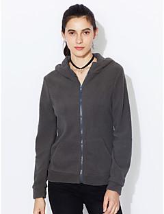 Bluza z Kapturem Damskie Codzienne / Sportowy Prosty / Moda miejska Jendolity kolor Micro-elastic Polyester Długi rękaw Wiosenny / jesień