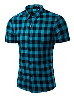 Bomull Lin Kortermet,Skjortekrage Skjorte Ruter Vår Enkel Fritid/hverdag Arbeid Herre