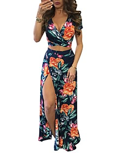 Women's Traveling Holiday Street chic Bodycon Sheath Dress,Floral V Neck Maxi Short Sleeves Cotton Polyester Summer Mid Rise Micro-elastic