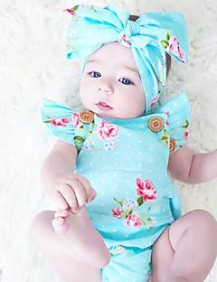 billige Babytøj-Baby Pige En del Vintage Mode, Bomuld Sommer Uden ærmer Blomster Blå