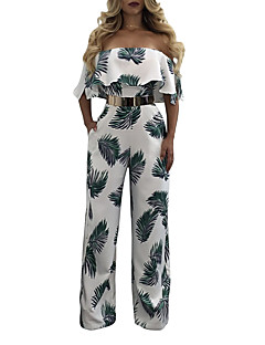 Women's High Rise Going out Casual/Daily Holiday JumpsuitsSexy Slim Vintage Boho Wide Leg Backless Ruffle Fashion Print Vintage Spring Summer