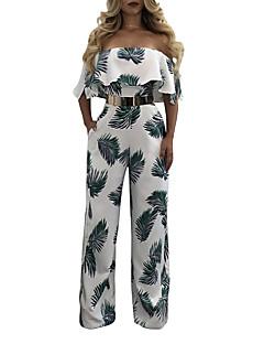 Damen Retro Boho Sexy Hohe Hüfthöhe Lässig/Alltäglich Urlaub Ausgehen Overall Breites Bein,Rüsche Rückenfrei Modisch Vintage DruckSommer