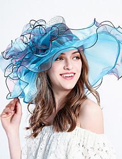 Femme Chapeau Fleur Filet de tulle Bob Capeline Chapeau de soleil,Rayures Printemps/Automne Eté Bandes