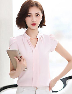 Damen Solide Einfach Ausgehen Bluse,V-Ausschnitt Kurzarm Baumwolle