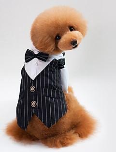 billiga Hundkläder-Katt Hund Kappor Tröja Smoking Knyta/Fluga Hundkläder Rand Svart Blå Cotton Kostym För husdjur Herr Dam Fest Ledigt/vardag Cosplay Bröllop