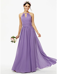 cheap Bridesmaid Dresses-A-Line Jewel Neck Floor Length Chiffon Bridesmaid Dress with Buttons Sash / Ribbon Pleats by LAN TING BRIDE®