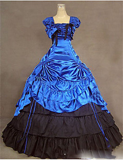 Victorian Rococo Female One Piece Dress Blue Cosplay Other Satin Sleeveless Cap Floor Length