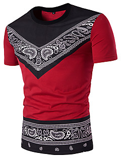 Men's Daily Casual Chinoiserie Summer Polo,printing Round Neck Short Sleeves Cotton Spandex Medium