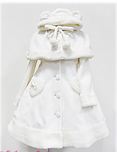billiga Lolitamode-Prinsessa Gotisk Lolita Dam Kappa Cosplay Vit / Svart Långärmad Lolita Kostymer