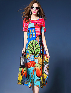 レディース ストリートファッション アジアン・エスニック お出かけ ルーズ スウィング ドレス,プリント ラウンドネック ミディ 半袖 シルク ポリエステル 夏 ミッドライズ 伸縮性なし 薄手