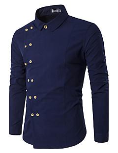 billige Herremote og klær-Bomull Skjorte Herre - Ensfarget Fest / Langermet