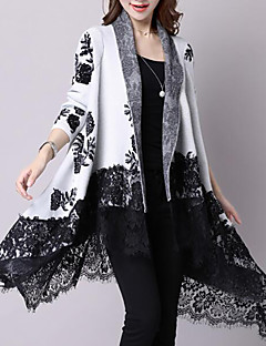 Women's Casual/Daily Simple Long Cardigan,Print V Neck Long Sleeves Cotton Winter Fall Medium Inelastic