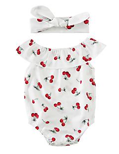 billige Babytøj-Baby Børne En del Bomuldsblanding Sommer Uden ærmer Hvid
