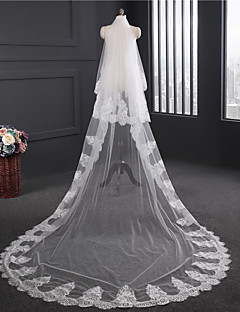 cheap Wedding Veils-Two-tier Lace Applique Edge Wedding Veil Chapel Veils 53 Appliques Embroidery Lace Tulle