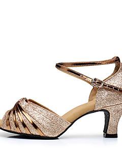 hesapli -Kadın's Latin Dans Ayakkabıları Işıltılı Simler / Payetli / Sentetik Sandaletler / Topuklular İç Mekan Işıltılı Pullar / Toka / Payet
