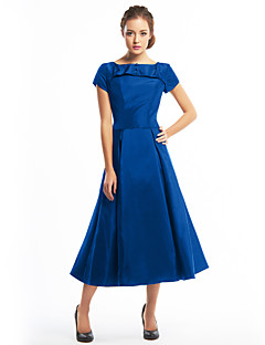 billiga Cocktailklänningar-A-linje Båthals Telång Taft Den lilla svarta Cocktailfest Klänning med Knappar av TS Couture®