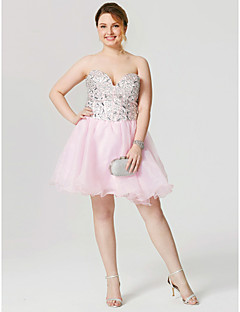 A-Line Sweetheart Short / Mini Organza Cocktail Party Homecoming Dress with Beading Crystal Detailing Pleats Bandage by Sarahbridal