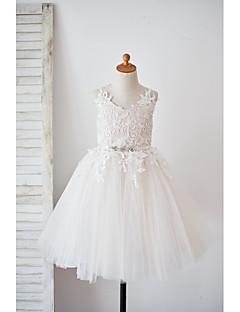 une ligne de genou longueur robe fille fille - laine satin tulle bretelle sans manches avec ruban par thstylee