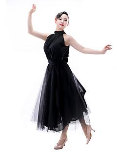 ラテンダンス 女性用 ダンスパフォーマンス ナイロン サテンシフォン 1個 ノースリーブ トップス