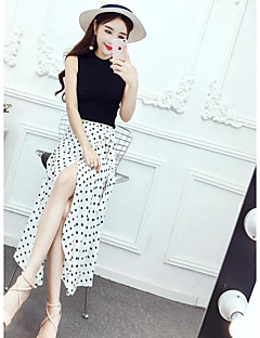 Women's Daily Casual Casual Active Summer T-shirt Skirt Suits,Color Block Dot Round Neck Sleeveless Micro-elastic