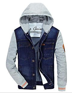 メンズ カジュアル/普段着 春 デニムジャケット,シンプル フード付き ソリッド ショート その他 長袖