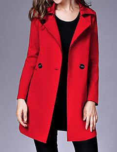 Damen Solide Einfach Lässig/Alltäglich Mantel,Hemdkragen Herbst Winter Lange Ärmel Standard Nylon