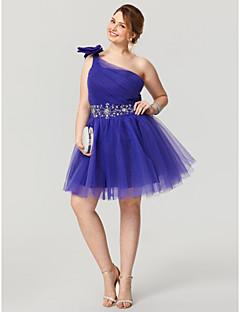 hesapli Düğünler & Davetler-prenses bir omuz diz boyu tül artı boyutu ts couture® ile boncuklu kokteyl partisi eve dönüş elbisesi