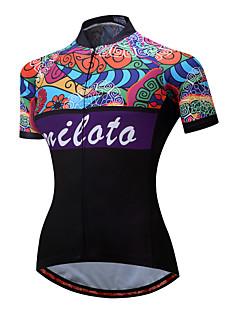 Miloto Jerseu Cycling pentru Doamne Feminin Manșon scurt Bicicletă Jerseu Bandă reflectorizantă Uscare Rapidă Respirabilitate Elastic