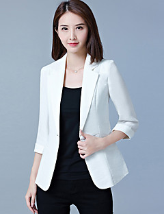 Women's Office & Career Work Formal Work Spring Summer Fall Solid Simple Shawl Lapel 3/4 Length Sleeve Regular Polyester