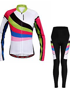 billige Sykkelklær-WOSAWE Dame Langermet Sykkeljersey med tights - Regnbue Sykkel Klessett, Fort Tørring, Refleksbånd Polyester, Spandex Stribe / Elastisk