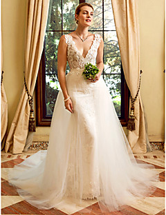 Sheath / Column Plunging Neckline Chapel Train Lace Tulle Wedding Dress with Appliques by LAN TING BRIDE®