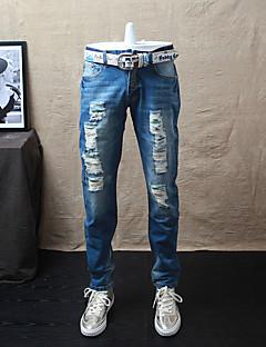 メンズ シンプル ストリートファッション ミッドライズ ストレート マイクロエラスティック ジーンズ パンツ 引き裂かれました ソリッド