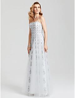 Eng anliegend Spaghetti-Träger Boden-Länge Tüll Formeller Abend Kleid mit Pailletten Plissee durch TS Couture®